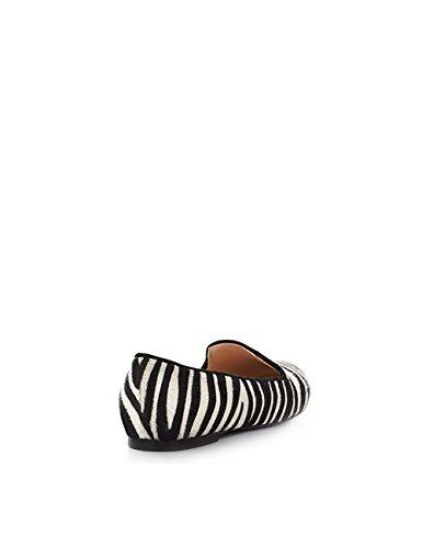 ShoeVita handgefertigte Loafer Damen Leder Slipper Zebra Animalprint Fell Größe 33 - 45 Mehrfarbig