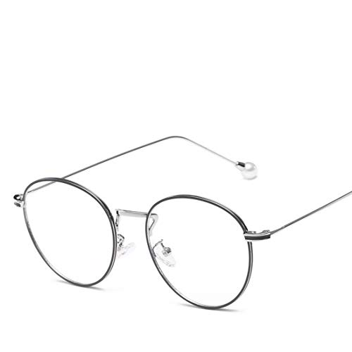 Mkulxina Anti Blue Light Glasses Fashion Pearl Temple Glasses für Frauen (Color : Silver)