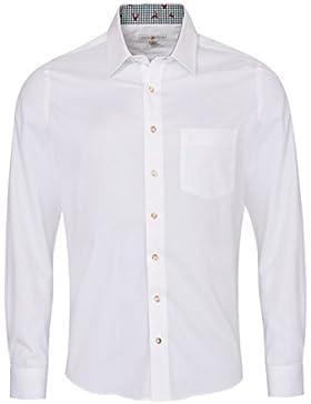 Almsach Trachtenhemd gernot Slim Fit Zweifarbig in Weiß und Dunkelgrün Inklusive Volksfestfinder