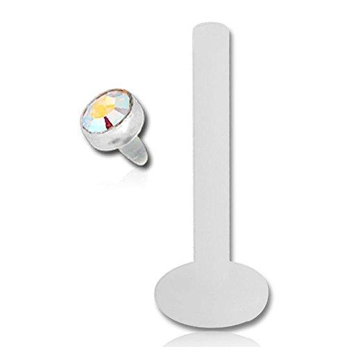 Bioflex Push-Fit Labret Stud - Bioflex Disc - Crystal AB 1.2mm x 6mm (Labret Crystal Kurze)