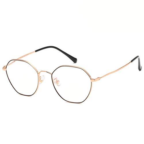 HHL Unregelmäßiger Vintage-Metall-Brillengestell-Nicht Verschreibungspflichtige Gläser, Klare Linsen , Unisex , DREI Farben (Farbe : SCHWARZ)