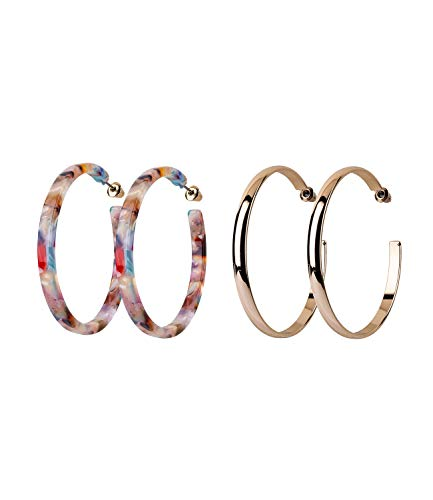 SIX Damen Ohrringe, Creolen im 2er Set, Hornoptik, gold, rosa, multi, Trend (787-348)