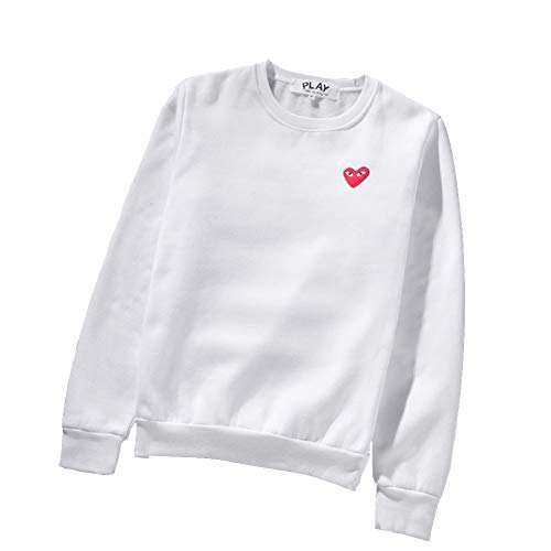 9c6f3b8e0b061 CDG Play Heart Print Sweater Round Neck Couple White Sweater Hoodie For  Men/Women