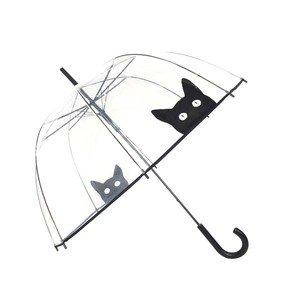 SMATI Ombrello lungo da donna cupola trasparente, apertura automatic per donna e bambini (gatto)
