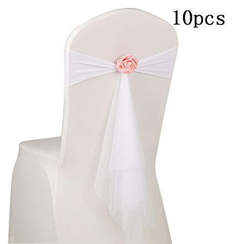 Qinlee Stuhl Band Hochzeit Organza Blumen Für Stuhlhussen Hochzeit Schleifenbänder Stuhl Schärpen Elastische Stuhlhussen mit Satinschleifen für Hochzeiten Partys Dekorationen-10 x Weiß