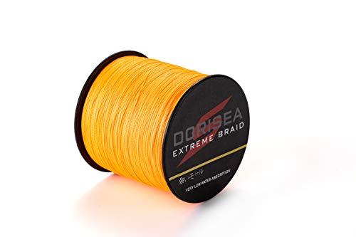 dorisea Extreme Braid 100% PE Geflochtene Angelschnur 6-Wasserfarben Test Angelschnur 300m/328yards Angeln string-abrasion beständig Incredible Superline Zero Stretch klein Durchmesser, Orange
