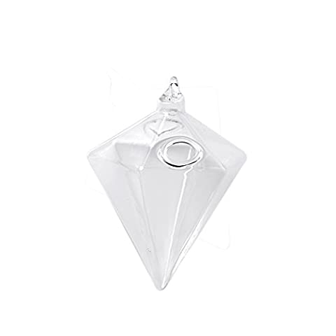 MagiDeal Clear Glass Diamond Shape Flower Plants Stand Hanging Vase Home Garden Wedding Party Decor