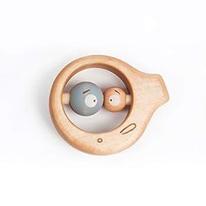 Baby Spielzeug, Holzspielzeug Rassel, Personalisierter Beißring aus Holz