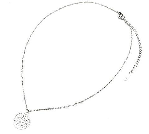 cc1349F Halskette feine Kette und Anhänger Kreis Durchbrochenes Baum des Lebens Stahl Silber–Modus Fantasie