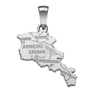 1001 Bijoux - Pendentif carte Arménie en argent rhodié