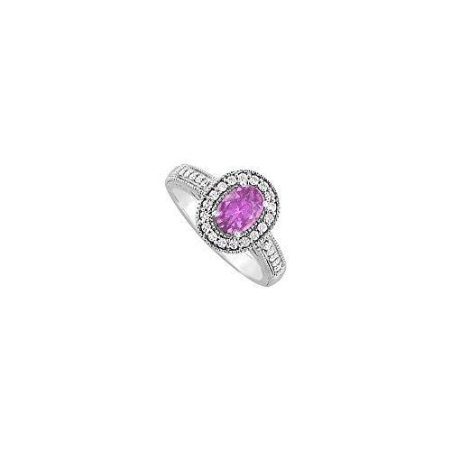 February Birthstone Oval Amethyst and Cubic Zirconia Engagement Ring in 14K White Gold