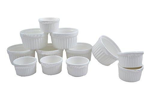 Godskitchen 100ml & 200ml (Set of 12) - Crème Brule Mix Bowl, Ceramic Ramekins, Perfect Portion Control Size For Making Creme Brulees, Classy Dip Bowls