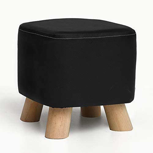 Lixiong pouf poggiapiedi domestico divano antiscivolo quadrato antiscivolo sfoderabile in pino, 100kg, 7 colori (colore : nero, dimensioni : 28x28x25cm)