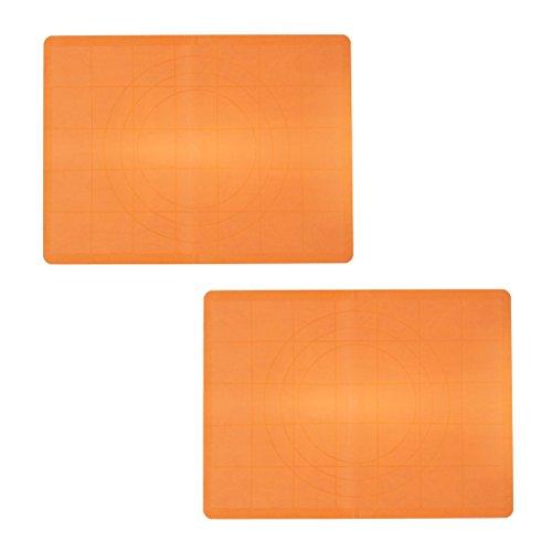 KurtzyTM Confezione da 2 Tappetini da Lavoro in Silicone con Anelli Guida e Righello per (Divertimento Cookie Cutters)