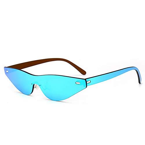 WZYMNTYJ Spiegel Cat Eye Sonnenbrille Frauen Designer Weibliche Sonnenbrille Elegante Männer Randlose Shades Uv400
