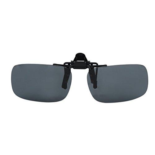 Driving Night Vision Gafas graduadas con lentes Flip-up Gafas para lentes con clip Unasex anti-UV 400 Unisex para mujeres y hombres - Gris negruzco L