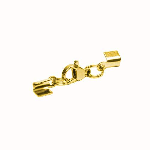 AURORIS - Karabiner-Klemmverschluss aus Edelstahl für ca. 2 bis 3 mm Bänder - Stückzahl/Farbe wählbar - Variante: 5 Stück/gold
