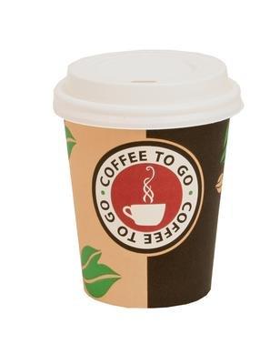 1000 x Coffee-to-go Becher 0,2 Liter MIT DECKEL # edles Design # Pappbecher 200ml # Papierbecher aus 320er Papier # für Party, Kiosk, Tankstelle oder einfach für zuhause # Einwegbecher zum Mitnehmen # cappuccino latte macchiato Milchkaffee café (Getränkebecher Papier)