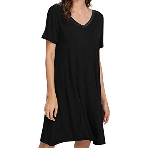 Kurzen Schlaf Kleid (Damen Sommerkleider,Damen Nachthemd Kurze Ärmel Schlaf Shirt Kleid Lose Nachtwäsche T-Shirt Kleid Strandkleid Sommerkleid Frauen Bademode Lässige Kleidung)