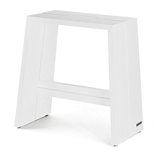 Preisvergleich Produktbild NATUREHOME Design Hocker Massivholz Buche weiß mit Tragegriff Sitzhocker Holz