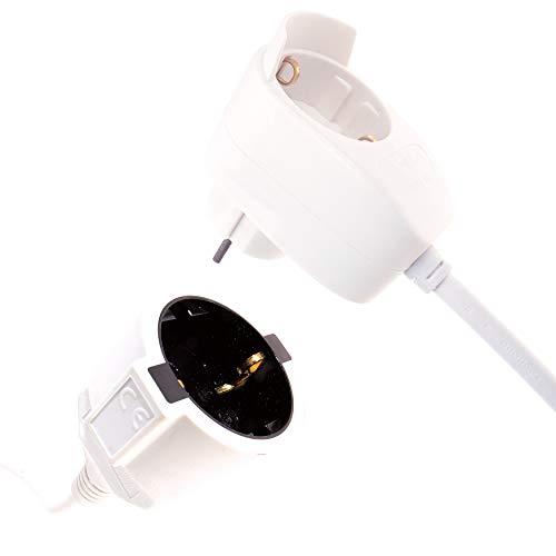 REV 0016130114 Verlängerungskabel 3m weiß Powersplit – Stromkabel Verlängerung mit Zusatz Steckdose überbrückt kleinere Entfernungen und schafft im Haus flexiblere Arbeitsbereiche