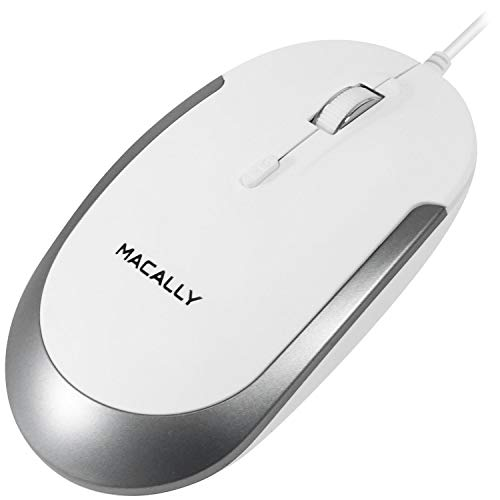Macally Silent USB-Maus für Apple Mac oder Windows PC Laptop/Desktop Computer White with Silver Trim -