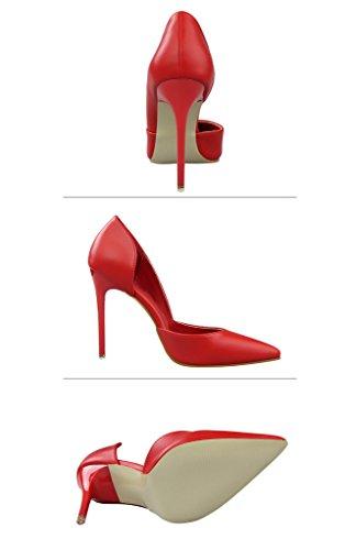 Minetom Donna Scarpe Col Tacco Stiletto Scamosciato Semplice Pump Shoes Elegante Partito Di Sera Sandali Scarpe Rosso
