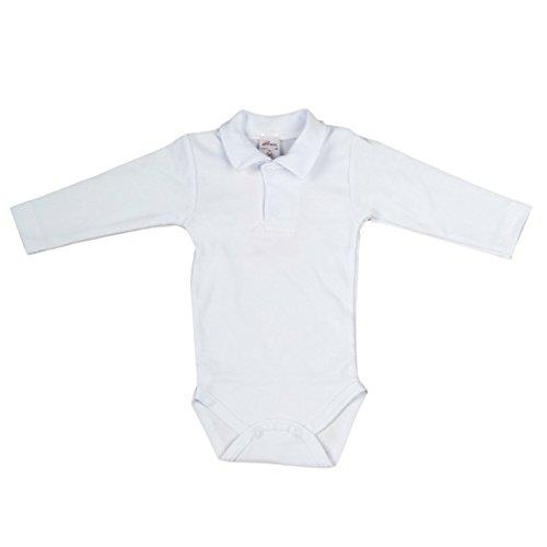 Baby Hemd - Body weiß für Jungen mit Polokragen Basic (62)