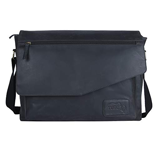 TUSC Triton Grau Leder Tasche Laptoptasche bis 17 Zoll Herren Umhängetasche Aktentasche Schultertasche für Büro Notebook Messenger Bag Laptop iPad, Größe- 41x31x12 cm - Große Notebook-computer