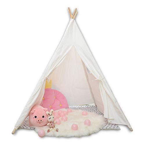 GQCDQ Kinderzelt | Kinder Indian Spiel Zelt ist einfach zu Bauen und einfach zu transportieren | mit Aufbewahrungstasche und 4 Kiefer Indoor-Outdoor-weißen Baumwoll-Leinwand 150 cm hoch