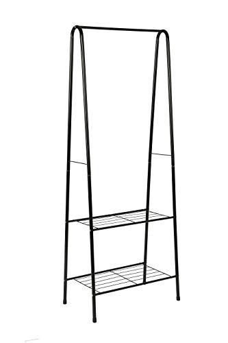 mulsh Kleidung Garment Rack Coat Organizer Storage Regal Diele Ablage mit 2-stufig Metall Regal in Schwarz, 61cm wx15.2
