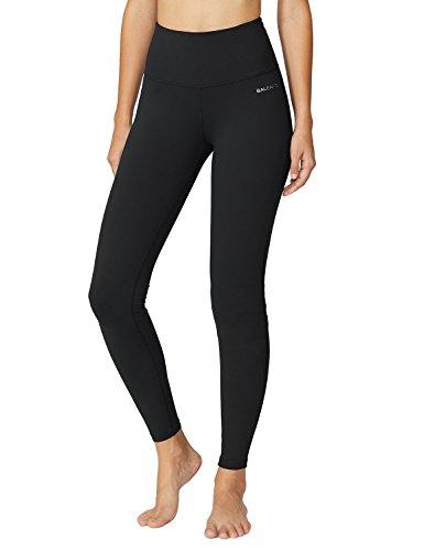 Baleaf Damen High Waist Leggings Yoga Lange Yogahose Laufhose Workout Schwarz Größe XXL