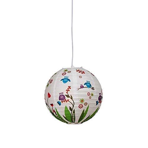 Luminaire Suspendu avec Motif de Chouette | Suspendu avec Reispapier-Schirm | Lampe Suspendue pour E27 Max. 60 W | Pépinière Lumière | Lampe pour Chambre D'Enfant