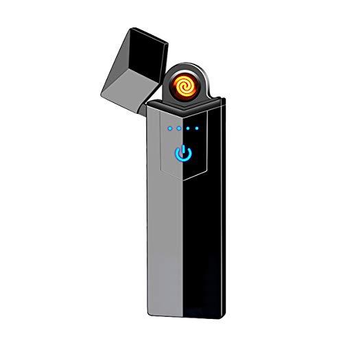 NAMCHE Elektrisches Feuerzeug USB aufladbar Feuerzeug ohne Feuer. Ökologisch, Ohne Gas, die Premium Qualität. Anti Wind Feuerzeug sehr eleganter ultrafeinem (Schwarz ohne LED)
