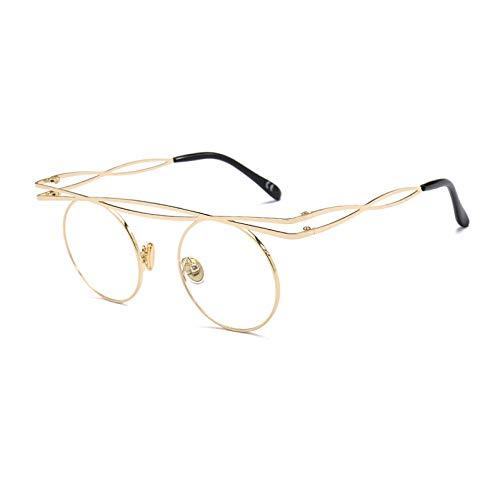 YMTP Runde Brille Rahmen Männer Retro-Flachen Oberen Kreis Brillen Rahmen Für Frauen Gold Silber Metallrahmen, Gold Mit Klar