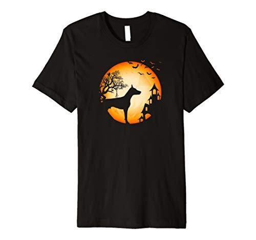 Dobermann Halloween T-Shirt Hunde-Silhouette Mond