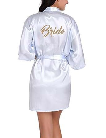 DOTBUY Sposa Damigella d'Onore Vestaglie, Donna Sposa Damigella d'Onore Scollo a V in Raso Vestaglia da Kimono Pigiami Accappatoi Matrimonio Abito (S,Azzurro - Sposa)