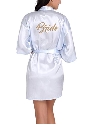 Dotbuy sposa damigella d'onore vestaglie, donna sposa damigella d'onore scollo a v in raso vestaglia da kimono pigiami accappatoi matrimonio abito (xl,azzurro - sposa)