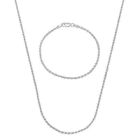 1.8mm 925 Sterling Silver Diamond-Cut Rope 61 cm Chain & 25.5 cm Bracelet Set