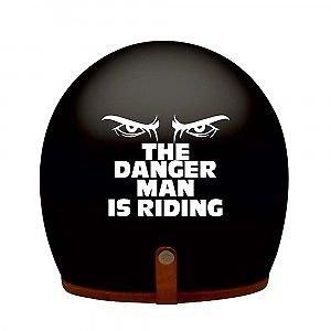 DELHI TRADERSS Vinyl White THE DANGER MAN IS RIDING Bike Helmet Sticker