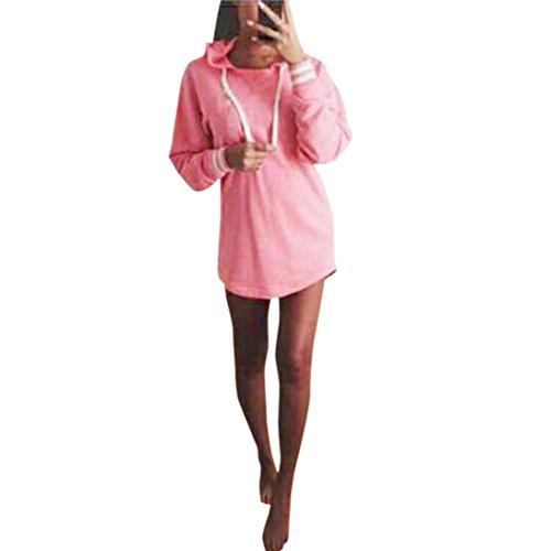 Culater® mujeres La camiseta de manga larga con capucha del puente sudadera Top (L, Rosado)