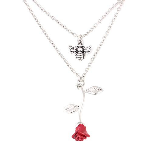 Domybest Biene Rose Doppelschichten Halskette Damenmode Kette Anhänger Schmuck Geschenke