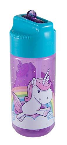 POS 28233088 - Trinkflasche mit niedlichem Einhorn Motiv, transparent mit Strohhalm zum hochklappen, BPA-frei, Fassungsvermögen ca. 450 ml, ideal für Schule, Sport und Freizeit
