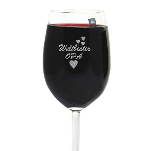 van Hoogen Leonardo Weinglas Weltbester Opa | mit Gravur | Geschenk für Opa | Geburtstag | 365ml Premiumglas Rotwein Weißwein | Bester Opa