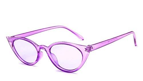 MJDABAOFA Sonnenbrillen,Cat Eye Sonnenbrille Frauen Retro Weiblichen Sonnenbrille Lila Rahmen Transparent Linse Cateye Gläser Für Frau Gläser