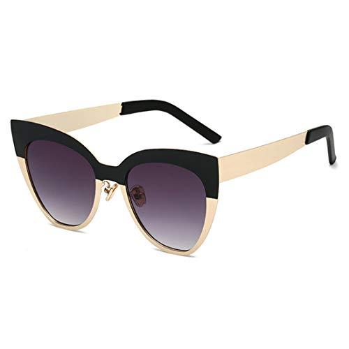 Männer Frauen UV Schutz Outdoor Fahren Reisen Sommer Strand Doppel Farbe Full Frame Katzenaugen Sonnenbrille Für Brille (Farbe : Gold Frame on Black)