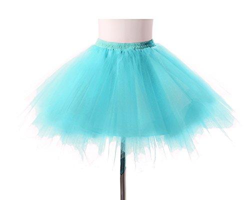 Poplarboy Damen Kurz 50er Vintage Petticoat Reifrock Mehrfarbengroß Unterröcke Braut Crinoline Ballett Blase Tutu Ball Kleid Underskirt Blau