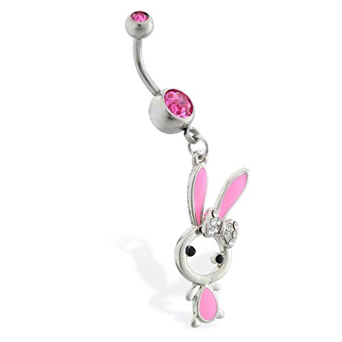 Jeweled Bunny (Bauch Ring mit Dangling jeweled Pink Bunny)