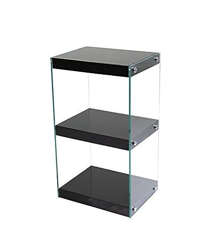 Moda Black Gloss Small Glass Display Shelf, Floor-Standing Bookshelf, Bookcase