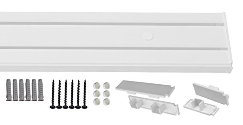 1-2- läufig Gardinenschiene Vorhangschiene Set Vorgebohrt mit Seitendeckel Schrauben Dübel 600cm (3X 200cm) 2-läufig Gardinenschiene (Weiß 2 Schrauben)